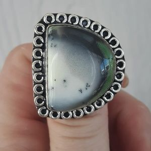 Handmade Jewelry - New Unique Dendritic Opal Silver Ring. Size 7.50